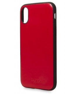 Knomo Coque cuir Snap-On iPhone X/XS Rouge